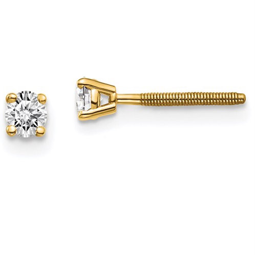 14ky True Origin Lab Grown Diamond 1/5ctw VS/SI, D E F, 4-Prong Screw Back