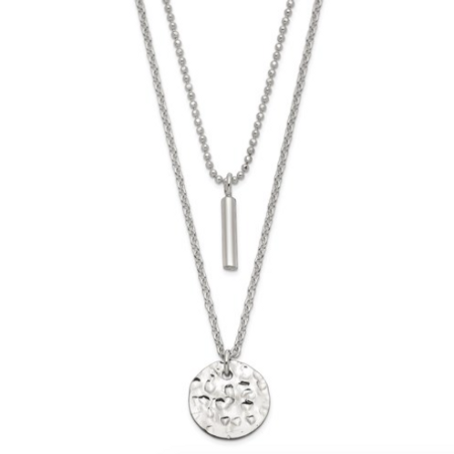 Sterling Silver 2-Strand Hammered Circle And Bar Necklace