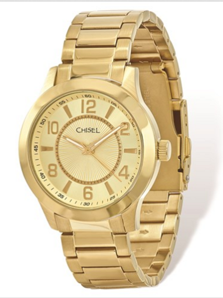 Mens Chisel IP-Plated Stainless Steel Gold Dial Watch