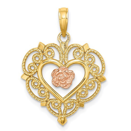 14k Rose and Yellow Gold Flower and Heart Charm