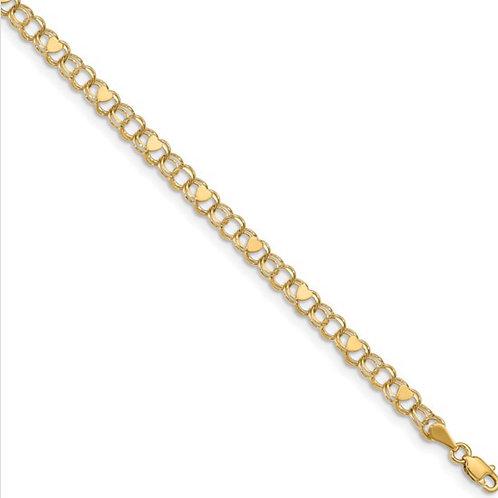 14k Double Link Heart Charm Bracelet