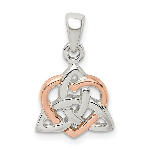 Sterling Silver Trinty Knot and Rose Tone Heart Pendant