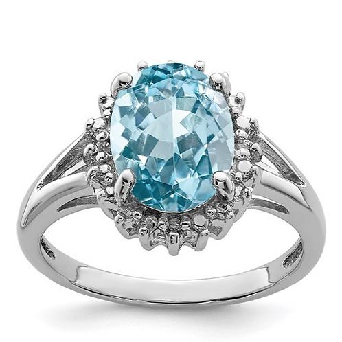 Sterling Silver Rhodium Light Swiss Blue Topaz and Diamond Ring