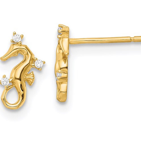 14k Yellow Gold Polished CZ Seahorse Post Earrings