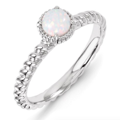 Sterling Silver Stackable Expressions Created Opal Ring