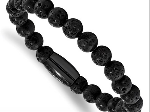 Stainless Steel Polished Black IP-Plated Lava Rock Beaded Stretch Bracelet