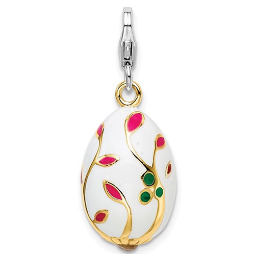 Sterling Silver 3-D Enameled Gold-plated White Egg with Lobster Clasp Charm