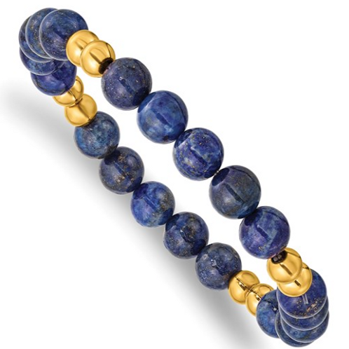 Stainless Steel Polished Yellow IP-plated with Lapis Beaded Stretch Bracelet