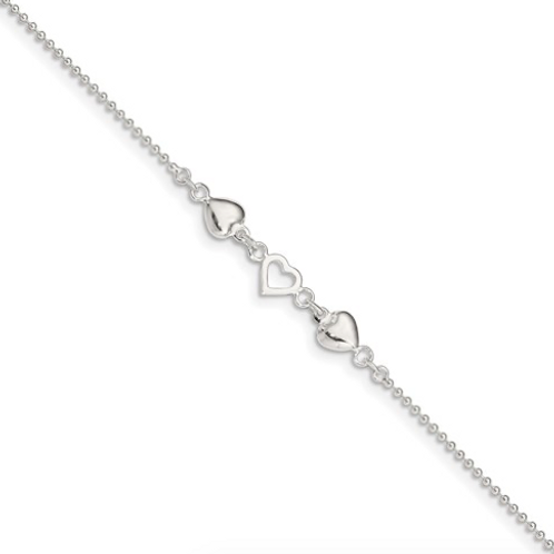 Sterling Silver 9inch Plus 1in Ext Polished Hearts Anklet