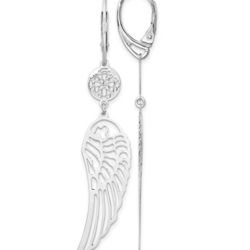 Leslie's Sterling Silver Rhodium-plated Polished Wing Leverback Earrings