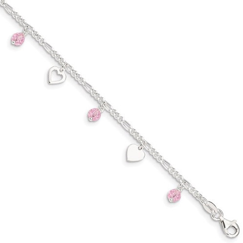 Sterling Silver Pink Glass Beads and Polished Hearts 9 inch Anklet with 1 inch e