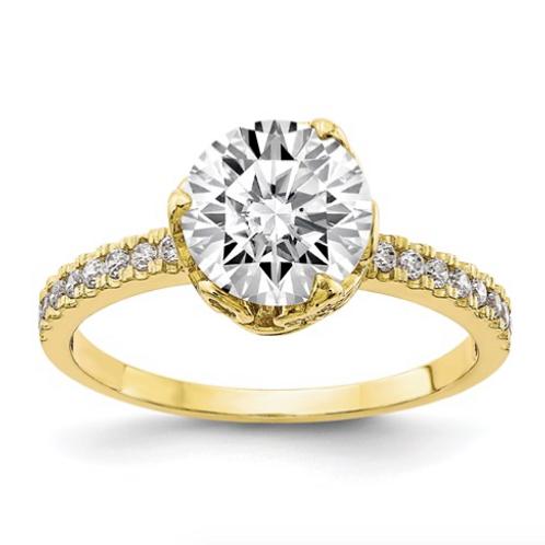 10K Tiara Collection Polished CZ Ring