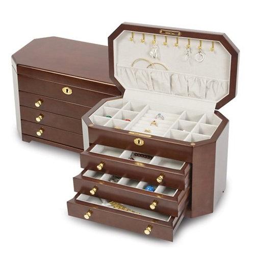 Matte Mahogany Veneer with 3 Drawers Jewelry Box