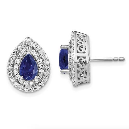 14kw Lab Grown Diamond and Created Blue Sapphire Earrings