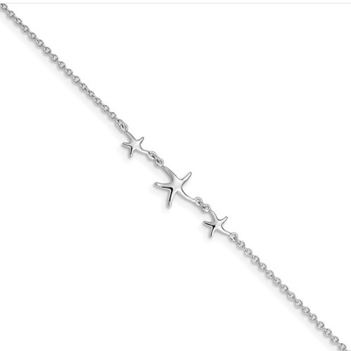 Sterling Silver Rhodium-plated 10in with 1in ext Three Stars Anklet