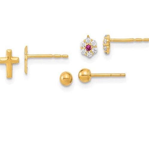14K Polished Set of Ball Post CZ Flowers and Cross 3 Pair Earrings Set