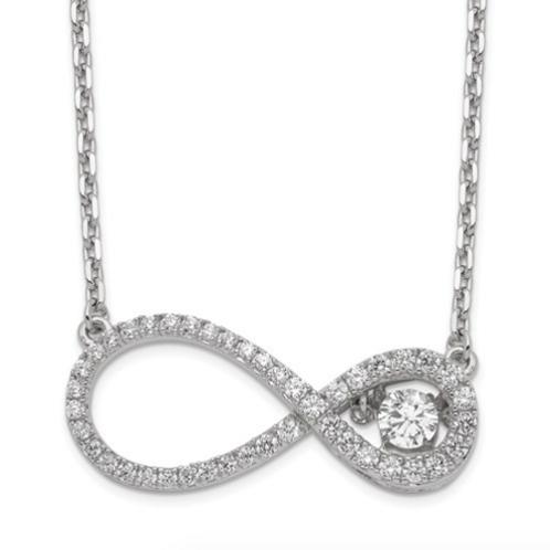 Sterling Silver Polished Vibrant CZ Infinity Necklace