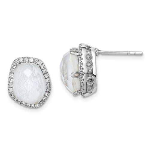 Sterling Silver Rhodium-Plated Blue Lace Agate And CZ Post Earrings