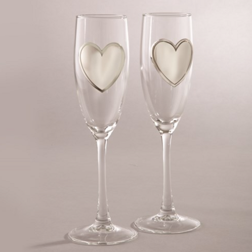 Pair Glass Flutes With Engraveable Pewter Heart Plates