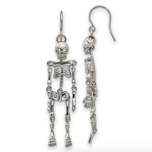 Stainless Steel Polished With Crystal Shepherd Hook Skeleton Earrings