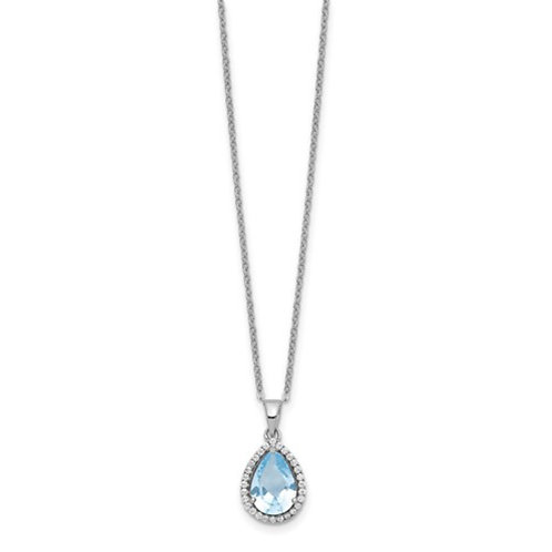 Sterling Silver Rhodium Polished Created Aquamarine and CZ Necklace