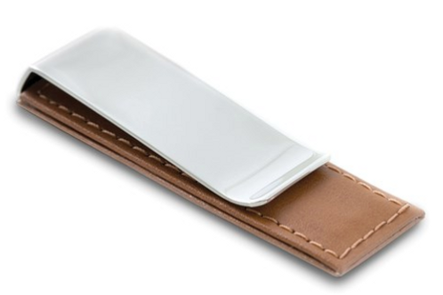 Brown Leather Chrome-Plated Money Clip