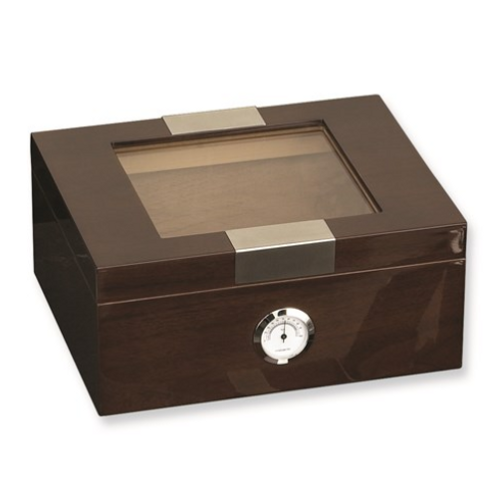 Lacquered Walnut Wood (Holds 60) Cedar Lined Humidor