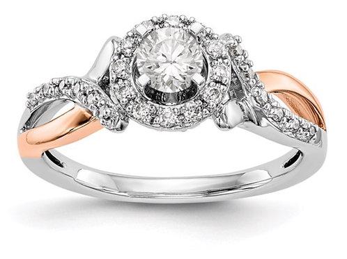 14ktt Lab Grown Diamond SI1/SI2, G H I, Peg Set Halo Semi-mount Eng. Ring