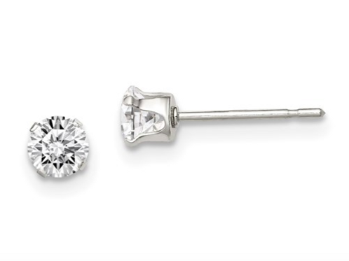 Sterling Silver 4mm Round Snap Set CZ Stud Earrings