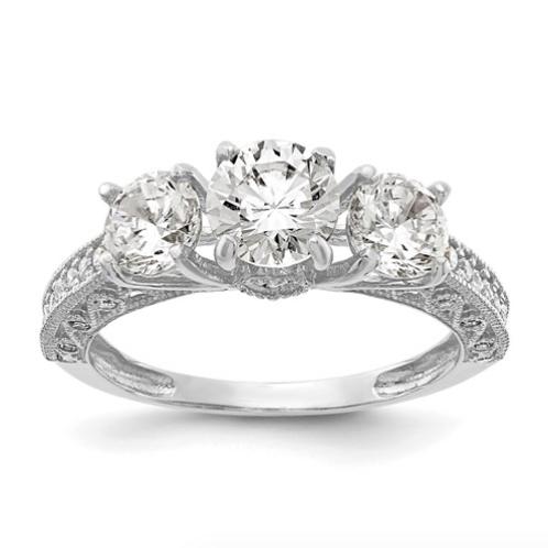 10K Tiara Collection White Gold Polished CZ Ring