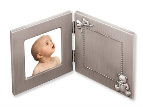 Pewter Finish Hinged Baby 3x3 Photo Frame