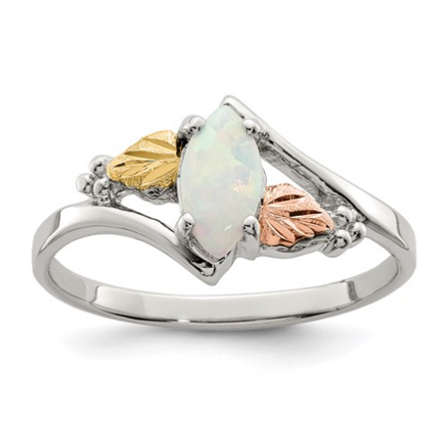 Sterling Silver And 12k Created Opal Ring
