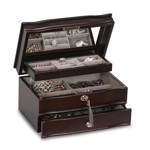 Mahogany Finish Locking Wooden Jewelry Box