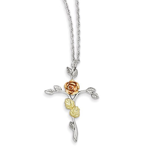 Sterling Silver Black Hills 12K Gold Accents Floral Cross 18 inch Necklace