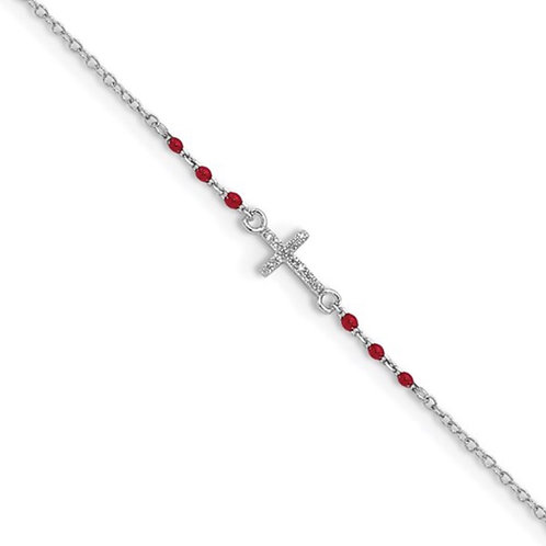 Sterling Silver Rhodium-plated Polished CZ Red Enamel Bead Cross Anklet