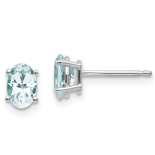 14k White Gold 6x4 Oval March/Aquamarine Post Earrings