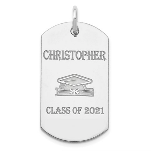 Sterling Silver Rhodium-Plated Personalizable Graduation Dog Tag Charm