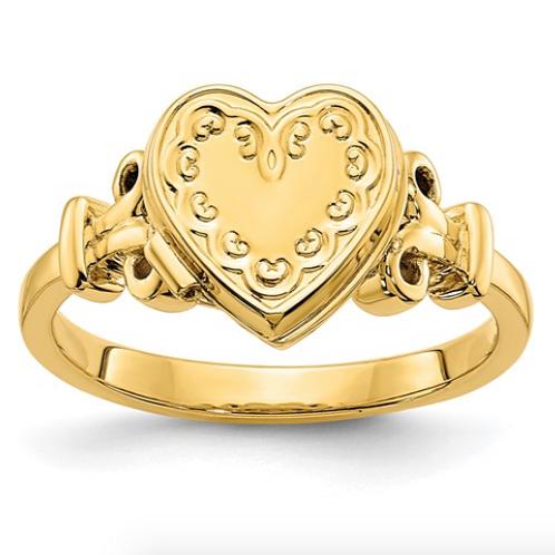14k 10mm Heart Locket Ring