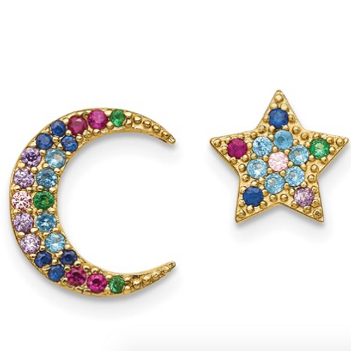 Sterling Silver 14k Flash-Plated Moon And Star Colorful CZ Post Earrings