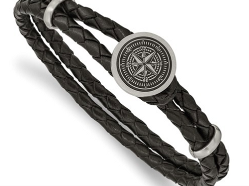 Stainless Steel Brushed Lasered Compass Black Leather 8.5in Bracelet