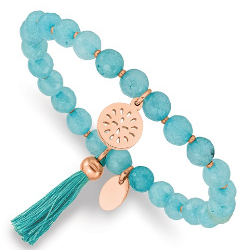 Stainless Steel Polished Rose IP with Tassel Mint Jade Stretch Bracelet