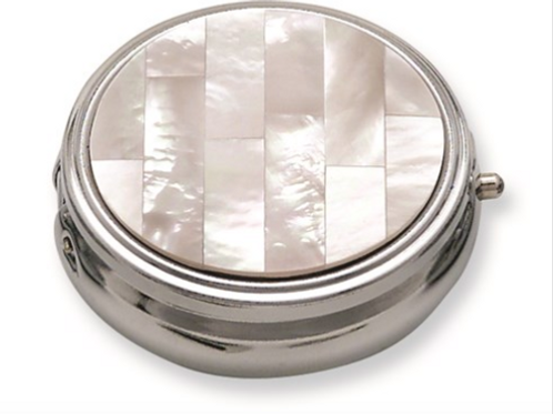 White Mother Of Pearl Pill Box