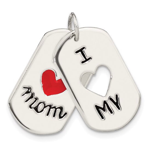 Sterling Silver I Love My Mom Moveable Pendant