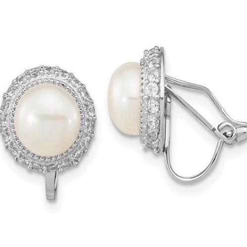 Sterling Silver Rhd-pl 7-8mm White Button FWC Pearl Non-pierced Earrings