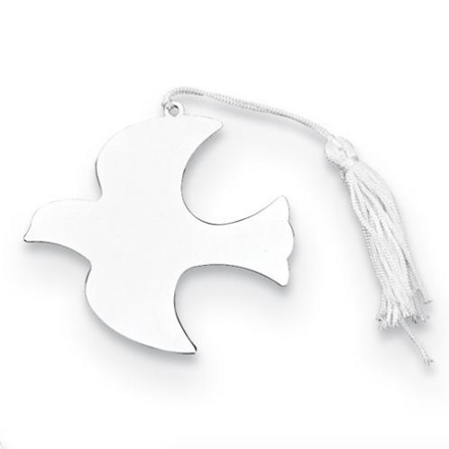 Nickel-Plated White Tassel Engraveable Dove Ornament