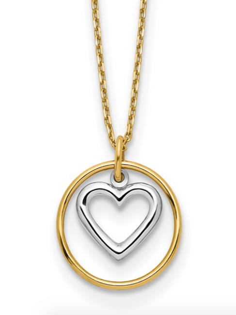 14k Two-tone Heart in Circle Necklace