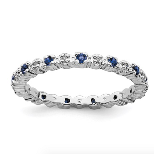 Sterling Silver Stackable Expressions Cr. Sapphire And Diamond Ring