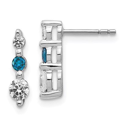 14k White Gold Blue/White Diamond Earrings
