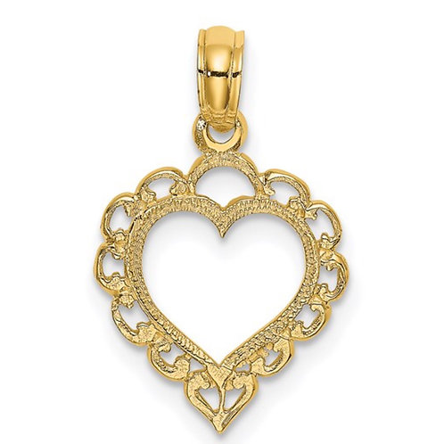 14K Heart with Lace Trim Charm