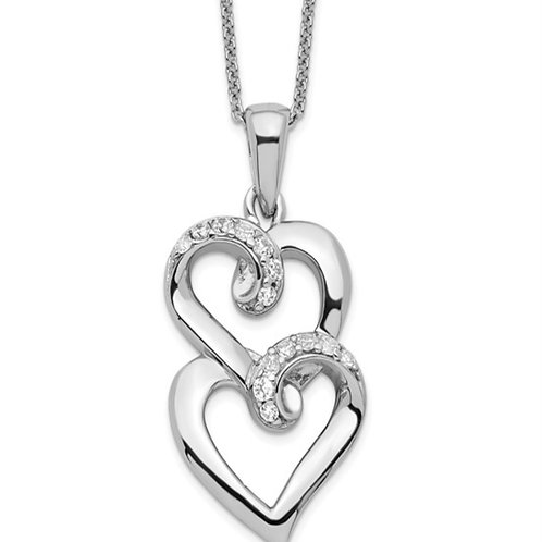 Sterling Silver and CZ To My Sister 18in Heart Necklace